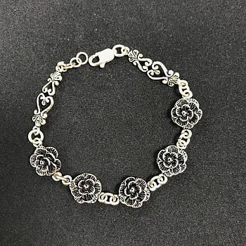 Серебряный браслет Б/У 925 пробы, длина 17,5 см, вес 11.35 г. Серебро из ломбарда