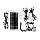 Ліхтар акумуляторний 1LED 5W+22 SMD, виносна сонячна панель, виносні 2 led лампи, кабель для зарядки, фото 2