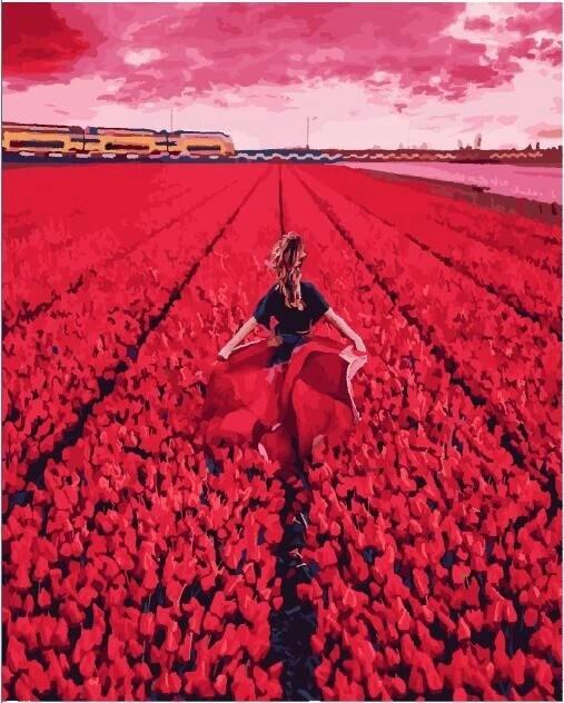 Она в поле тюльпанов