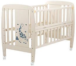 Ліжко Babyroom Жирафик відкидний бік, колеса DJO-01 бук слонова кістка