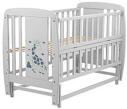 Кровать Babyroom Жирафик маятник, откидной бок DJMO-02  бук серый