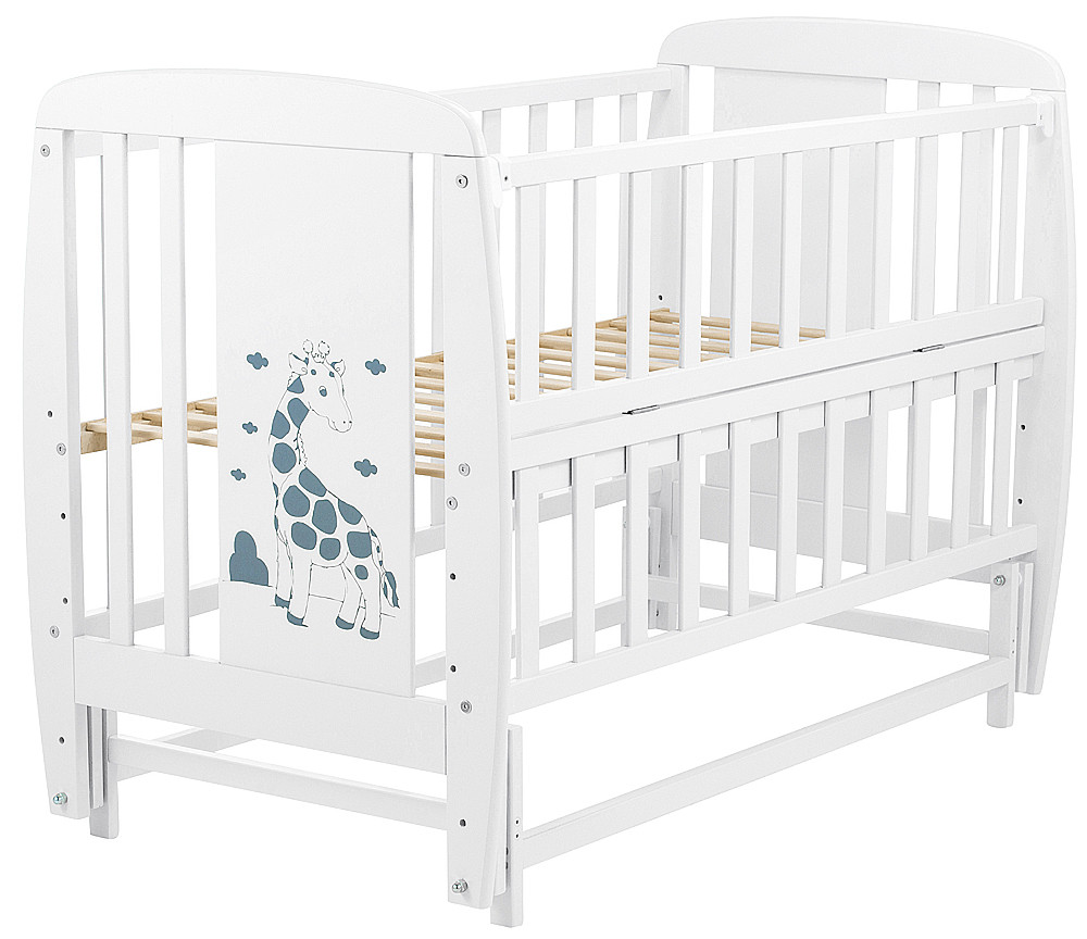 Кровать Babyroom Жирафик маятник, откидной бок DJMO-02  бук белый