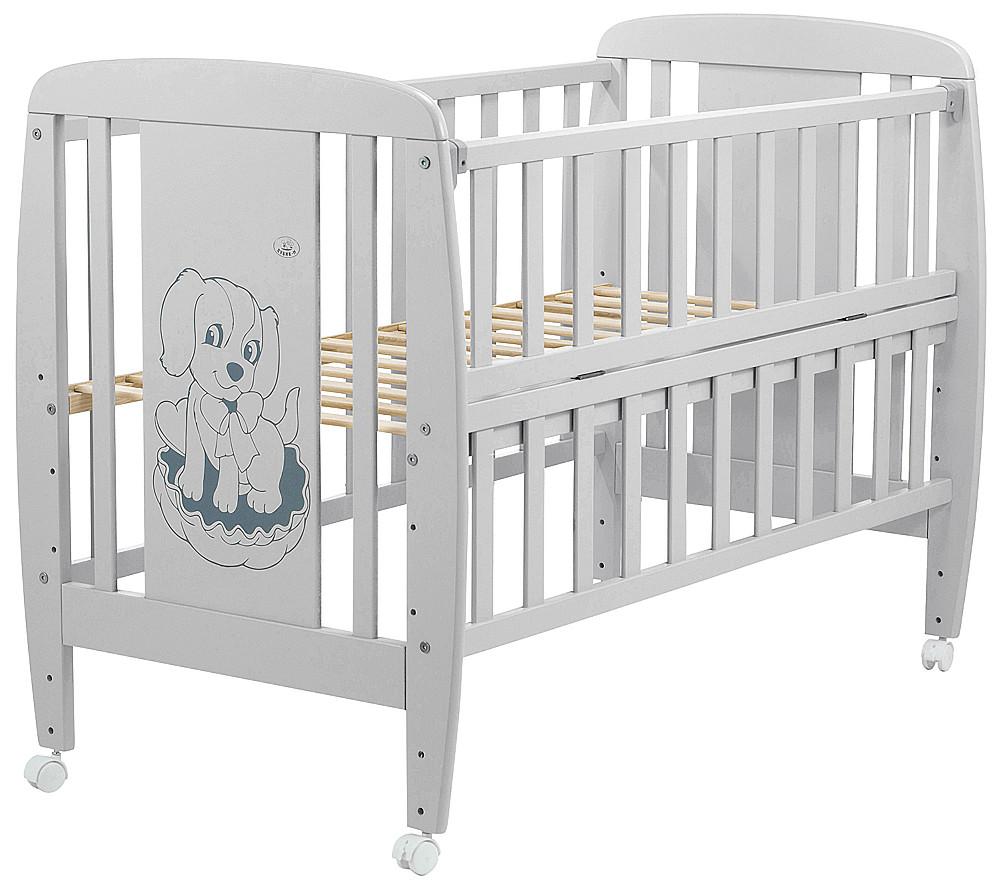 Кровать Babyroom Собачка откидной бок, колеса DSO-01  бук серый