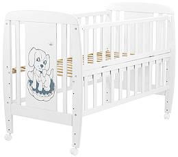Кровать Babyroom Собачка откидной бок, колеса DSO-01  бук белый