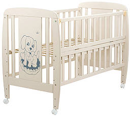 Кровать Babyroom Собачка откидной бок, колеса DSO-01  бук слоновая кость