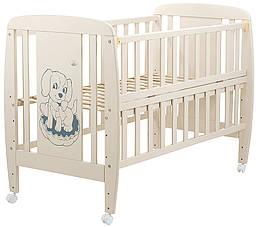 Ліжко Babyroom Собачка відкидний бік, колеса DSO-01 бук слонова кістка