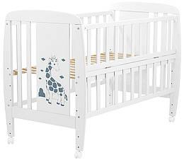 Кровать Babyroom Жирафик откидной бок, колеса DJO-01  бук белый