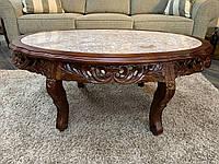 Журнальный столик из красного дерева и натурального мрамора,Аристократ-231С, Италия