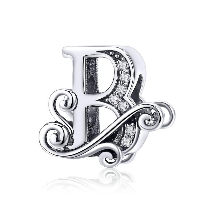 """Шарм """"Літера B в вінтажному стилі"""" BSC030 срібло 925 проба"""