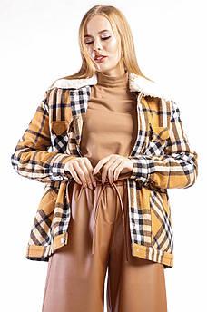 Куртка женская клетка бежевая TRG 128813S