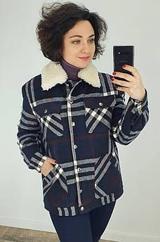 Куртка женская клетка синяя TRG 128819S