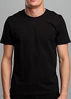 Мужская нательная футболка однотонная из качественного турецкого трикотажа, цвет черный
