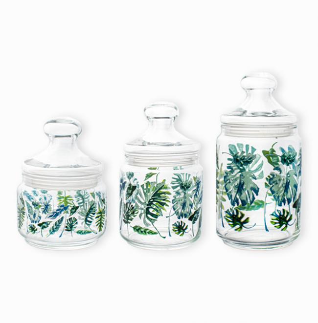 Набор банок стеклянных с крышкой Luminarc Tropical Foliage 500мл, 750мл, 1000мл 3шт