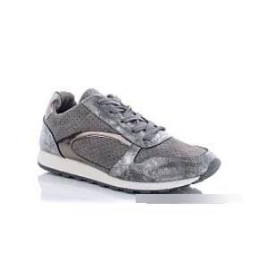 Стильные женские кроссовки серебристым напылением, фото 2