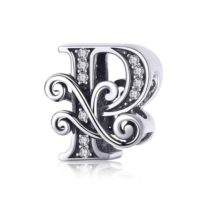 """Шарм """"Літера P в вінтажному стилі"""" BSC030 срібло 925 проба"""