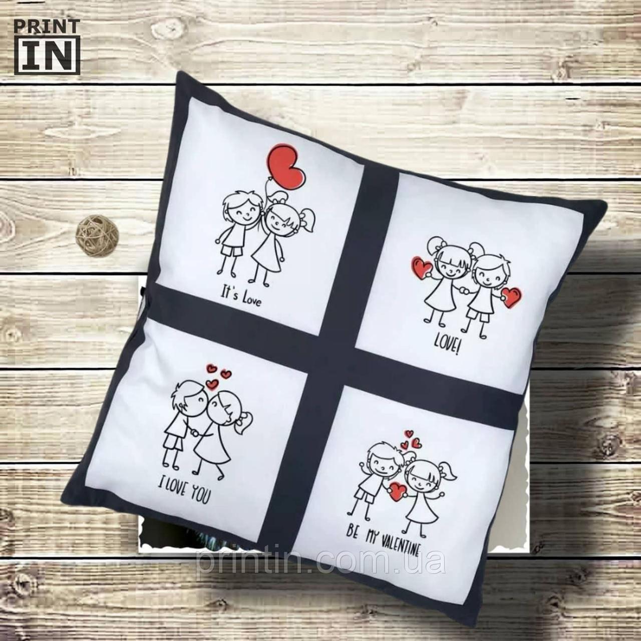 Печать на подушке с окошками 4шт