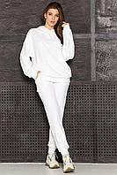 Велюровый спортивный костюм женский, свитшот с капюшоном и штаны (Белый / Мокко / Серый)