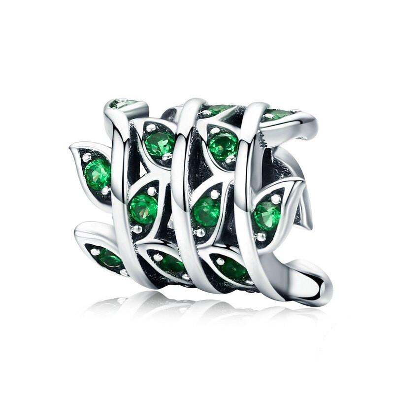"""Шарм """"Зелені листочки"""" BSC030 срібло 925 проба"""