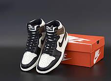 Баскетбольні кросівки Nike Air Jordan 1 Retro High OG Black/Gray, фото 3