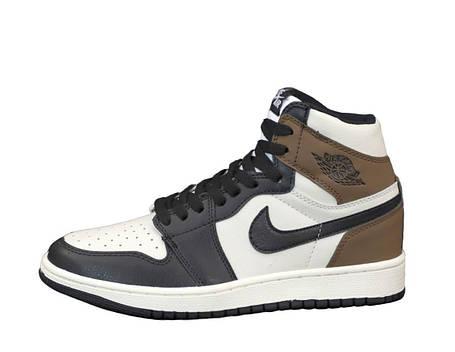 Баскетбольні кросівки Nike Air Jordan 1 Retro High OG Black/Gray, фото 2