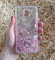 Чехол с сердечками и блестками в жидкости для Samsung Galaxy J6 (2018), Розовый