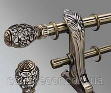 Карниз для штор металевий ДЖАНЕТ подвійний 25+19 мм РЕТРО 2.4м Античне золото