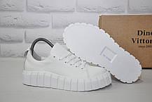 Женские белые кроссовки на платформе натуральная кожа Dino Vittorio