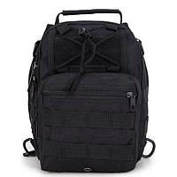 Рюкзак-сумка на одно плечо для велоспорта, путешествий, туризма, кемпинга Спартак 600D Black (006663)
