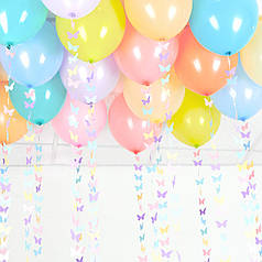 20 шаров под потолок с гирляндами бабочки ассорти