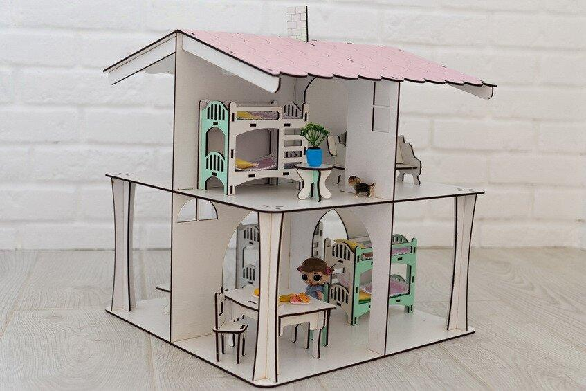 Ляльковий будиночок NestWood 4х-сторонній для ляльок ЛОЛ, 8 кімнат (поверх 20см), без меблів, рожевий