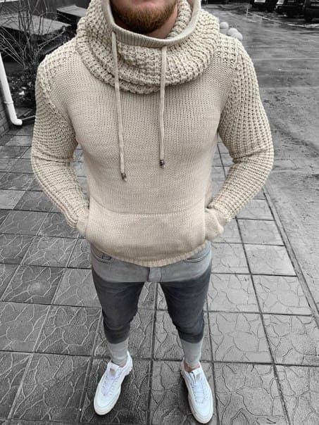 Мужской плотный свитер с высоким хомутом Турция