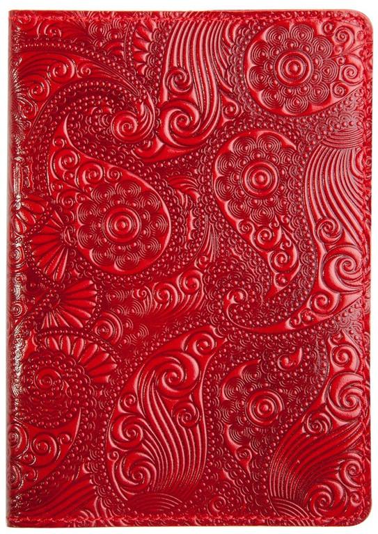 """Кожаная обложка на паспорт - """"Восточный огурец"""" (красный) - 220 грн. лицевая и обратная сторона"""