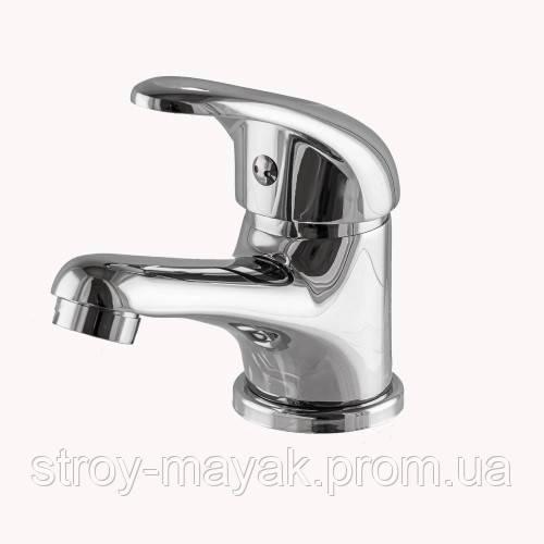 Латунний короткий змішувач ванна, кран одинважільний для умивальника Globus Lux Sena GLS-101