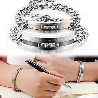 Парні браслети для двох закоханих ланцюг медична сталь камені цирконій гравірування, фото 2