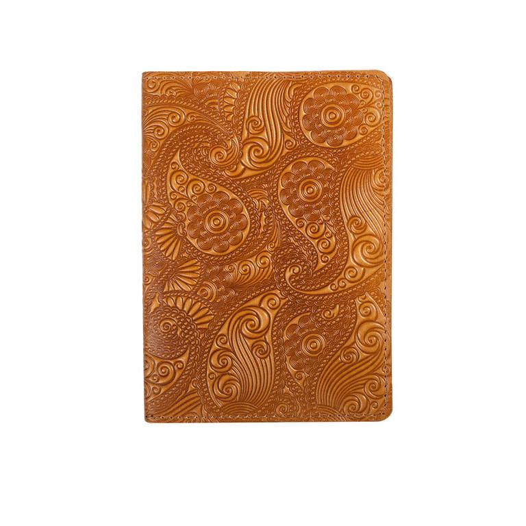 """Кожаная обложка на паспорт - """"Восточный огурец"""" (желтый) - 220 грн. лицевая и обратная сторона"""