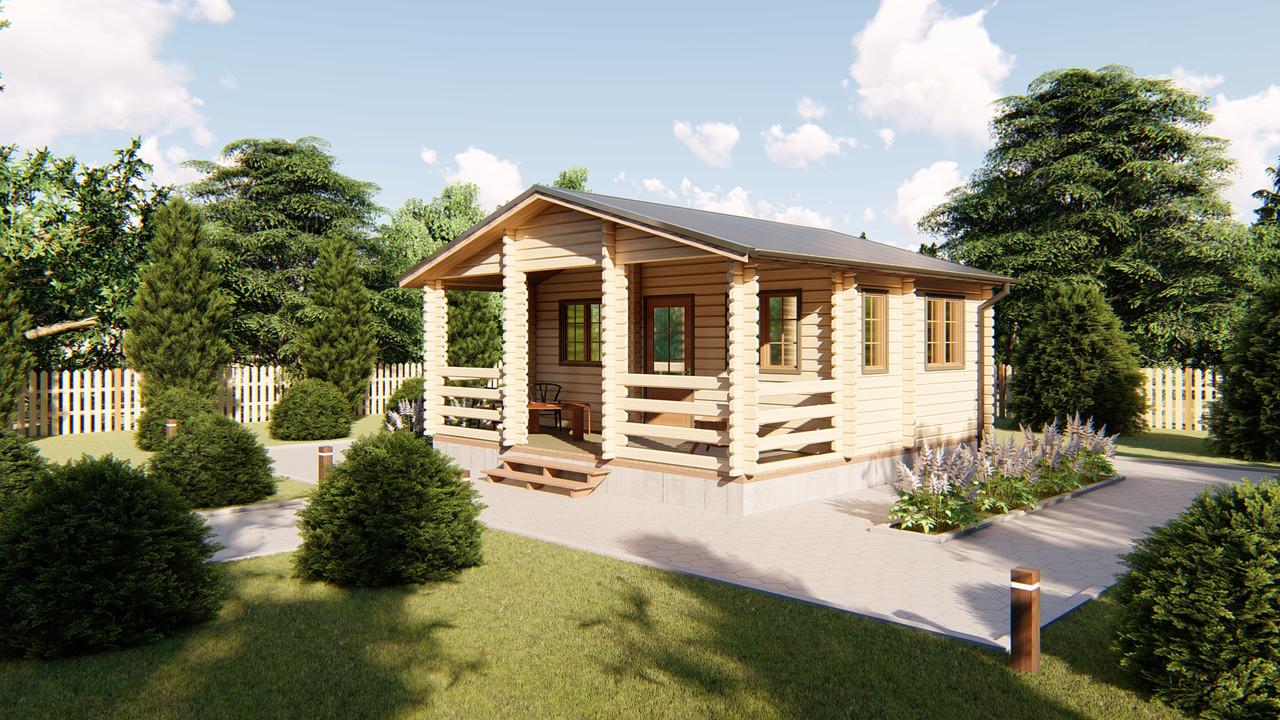 Будинок з термобревна 36 м2 Будівництво будинків з термобруса в Україні. Thermo Wooden House 020