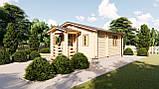 Будинок з термобревна 36 м2 з навісом. Будівництво будинків з термобруса в Україні. Thermo Wooden House 022, фото 2