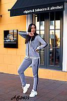 Женский весенний спортивный костюм двунитка черный серый красный 42 44 46 48 50 52 54 56