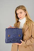 Большая кожаная сумка-портфель, синяя сумка ручной работы из натуральної кожи, фото 1