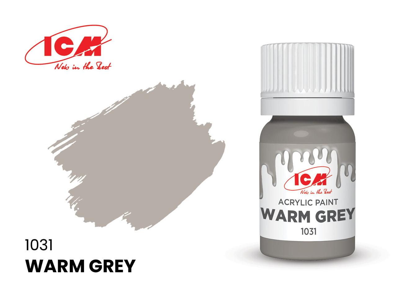 Фарба водорозчинна сіра тепла, 12 мл. ICM 1031