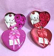 Подарочный набор роз из мыла и игрушка Мишка, фото 1
