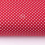 """Відріз тканини """"Пунктирний горошок"""" білий на червоному (№3300), розмір 140 * 160 см, фото 2"""