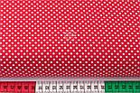 """Отрез ткани """"Пунктирный горошек"""" белый на красном (№3300), размер 140*160 см, фото 3"""