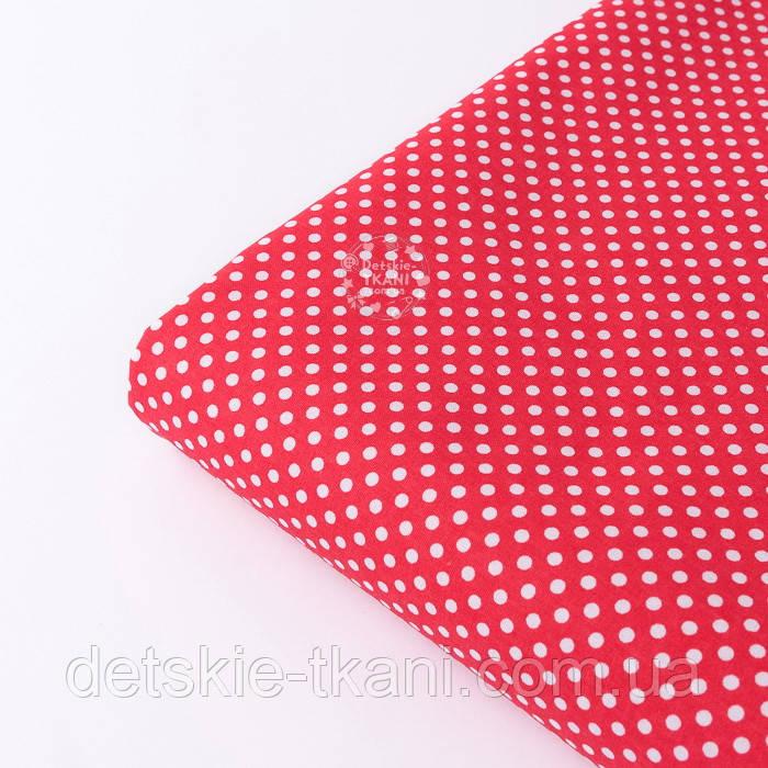 """Отрез ткани """"Пунктирный горошек"""" белый на красном (№3300), размер 140*160 см"""