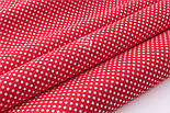 """Відріз тканини """"Пунктирний горошок"""" білий на червоному (№3300), розмір 140 * 160 см, фото 4"""