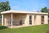 Беседка деревянная из профилированного бруса с закрытой комнатой 9х4 м. низкая цена от производителя, фото 3