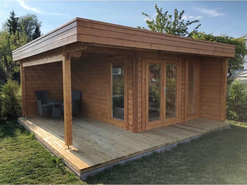 Альтанка дерев'яна з профільованого бруса 5х5 м. низька ціна від виробника