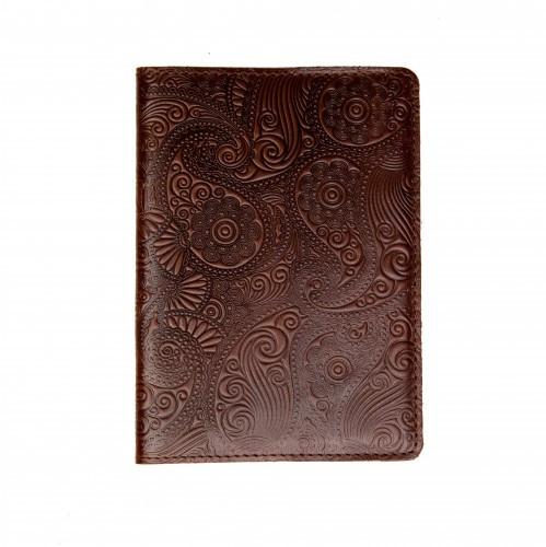 """Кожаная обложка на паспорт - """"Восточный огурец"""" (коричневый) - 220 грн. лицевая и обратная сторона"""