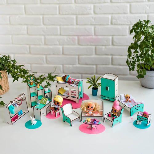 """""""Спальня+вітальня+дитяча"""" набір лялькової меблів NestWood для LOL, м"""