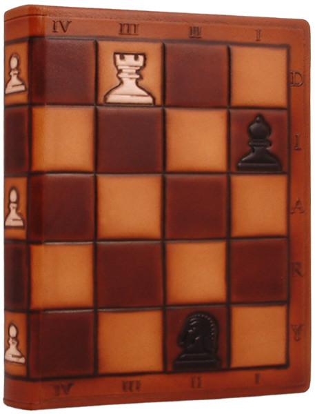 """Ежедневник А5 формата в кожаном переплете """"Шахматы"""""""